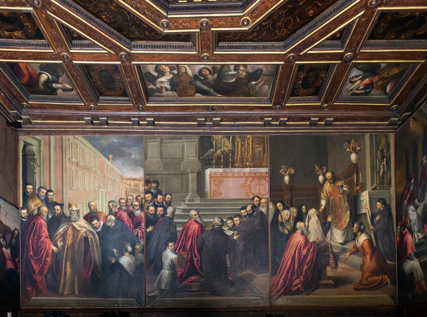 Dettaglio quadro e soffitto Oratorio dei Crociferi Gioielli Nascosti di Venezia