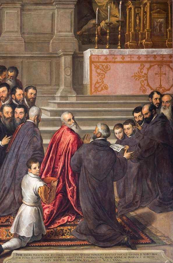 Jacopo Palm il Giovane - Pasquale Cicogna riceve l'annuncio della sua elezione al dogado
