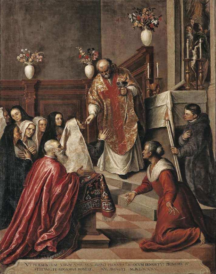 Jacopo Palma il Giovane - Pasquale Cicogna assiste alla Messa celebrata da padre Balbi